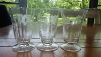 Vintage Etched Juice Glasses 3 6 ounce footed floral design 1950's glasses