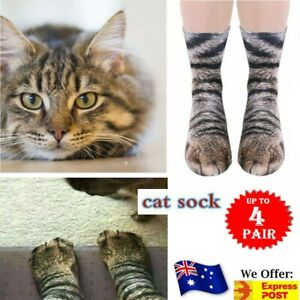 Cat Funny Unisex Adult Elastic Sock Animal Paw Feet Cats 3D Print Foot Socks