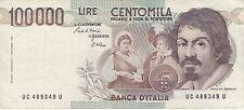 BIGLIETTO DI BANCA D'ITALIA 100000 LIRE ANNO 1983  CARAVAGGIO