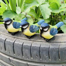 3 Pot Topping Blue Tit Birds Garden Ornaments Outdoor Decoration