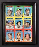 1975 Topps Uncut Sheet Framed - Hank Aaron, Billy Williams Hall Of Famers!