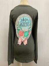 "New Lauren James Women's ""Sip Sweetly"" Long Sleeve T-Shirt, Gray, Medium"