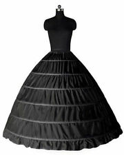 Black 6 HOOP Wedding Ball Gown Crinoline Bridal Dress Petticoat Skirt Underskirt