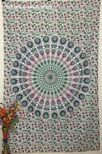 Bed Cover Green Tapestry Twin Size Living Room Decorative Peacock Mandala Design