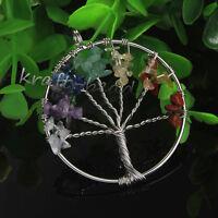 Mixed Natural Gravel Gemstone Tree Of Life Chakra Healing Stone Pendant Jewelry