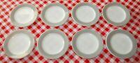 Set 8 PYREX Double Tough GREY Bread Butter Dessert Plates Vintage Restaurantware