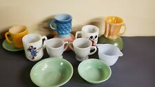 13 VINTAGE FIRE KING ANCHOR HOCKING JADEITE, MICKEY MOUSE, MUGS, & MORE