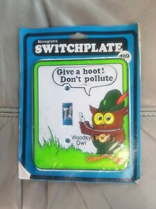 Vintage Woodsy Owl Switchplate Light Cover 1970s Give A Hoot! Don't Pollute