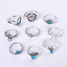 Bohemian Ethnic Style Retro Gold Silver Plated Queen Finger Rings 9pcs /Set