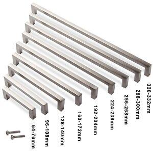 Kitchen Cabinet Cupboard Bar Door Handle Square Drawer Handles 64-320mm Hole
