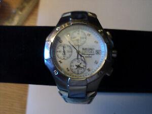 Seiko Coutura Chronograph Mother-of-Pearl diamond-dot dial. 7T62-0EM0 Runs