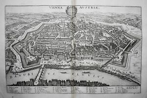 Wien Vienna Österreich Austria Ansicht Donau engraving Merian Kupferstich 1650