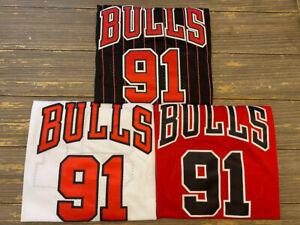 Dennis Rodman #91 Chicago Bulls Men's Pinstripe/Red/White Throwback Jersey