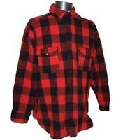 VTG 1950's WOOLRICH Flannel Buffalo Plaid Shirt Jacket 100% Wool - XL/2XL