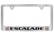 Cadillac Escalade Dual Logo Chrome Plated Brass Metal License Plate Frame Holder