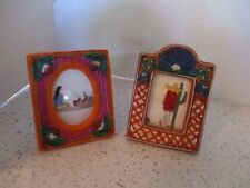 2 PICTURE FRAMES, TERRA COTTA, MEXICAN, PAINTED, HANDMADE CLOTH PRINTS, 3 X 2.5""