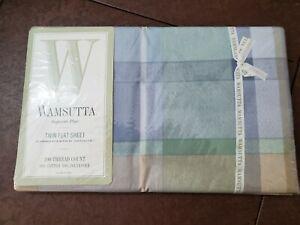Wamsutta Tyler Blue Plaid Chambray Twin Flat Sheet New Cotton/Polyester Blend