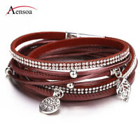 Fashion Women Life Tree Multi-layers Genuine Leather Wrap Charm Bracelet Jewelry