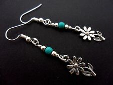 A PAIR TIBETAN SILVER DANGLY DAISY FLOWER & TURQUOISE  BEAD EARRINGS. NEW