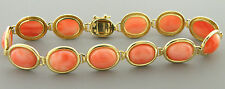 VINTAGE 14K YELLOW GOLD LADIES NATURAL SEA CORAL BRACELET