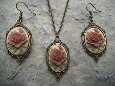 BROWN ROSE CAMEO NECKLACE AND EARRINGS SET- TAN- BRONZE-- AUTUMN - WEDDING!!