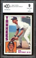 1984 Topps #8 Don Mattingly Rookie Card BGS BCCG 9 Near Mint+