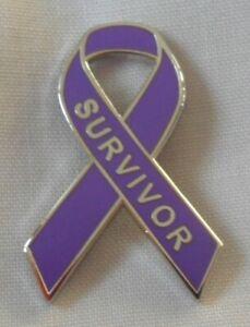 Domestic Violence Survivor Purple Awareness ribbon enamel pin badge. Refuge.