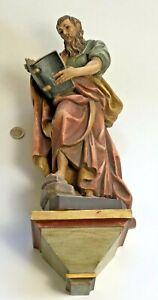 Heiligenfigur,  Hl. mit Buch, Holz bemalt, 50 cm. mit Sockel Grödnertal