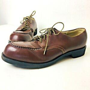 Vintage 60's Plainsman Brown Leather Steel Toe Garage Oxfords Shoes Size 10 1/2