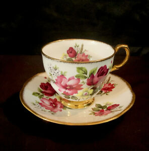 Vintage Royal Dover Bone China Tea Cup & Saucer ~ Gold Rim~ Red & Yellow Flowers