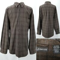 St Johns Bay Mens XL Brown Plaid 100% Cotton Smooth Flannel Button Up Shirt