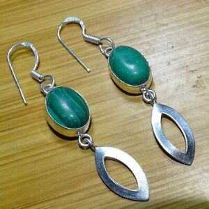 "925 Sterling Silver Overlay Malachite Stone Handmade Earrings Jewelry 2.25"" NAT3"