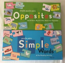 Puzzle Pairs Match Game Opposites Simple Words Educational Homeschool Lot EUC