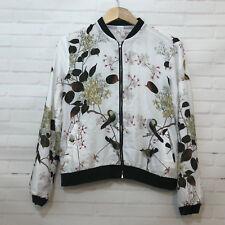 Bomber Jacket Womens M Bird Cherry Blossom Japanese Print White Floral C50