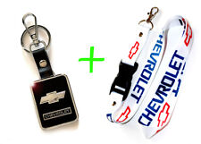 2 in 1 Combo CHEVROLET CHEVY White Lanyard and Leather Black Key Chain