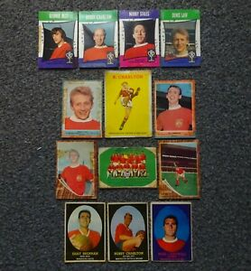 MANCHESTER UNITED 13 A&BC BUBBLEGUM CARDS 1960s SOME RARE CHARLTON LAW BEST ETC