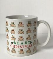 """Russ Christmas Holiday Coffee Tea Mug """"Beary Christmas"""" Bears Red & Green Bows"""