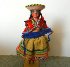 BEAUTIFUL VINTAGE SOUTH  AMERICAN HAND MADE  DOLL 9 Inches