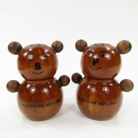 Vintage Wooden Salt Pepper Shakers Set Teddy Bear Yellowstone Souvenir    INV168