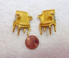 Vintage Karl Lagerfeld Chair Clip Earrings Ballet Monte Carlo Gold Plate Superb