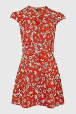Topshop Red Scatter Daisy Floral Flippy Tea Dress - Size 16