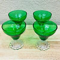 """Set of (4) Hazel Atlas Green & Clear Footed Glass 4"""" Sherry Cordial Goblets"""