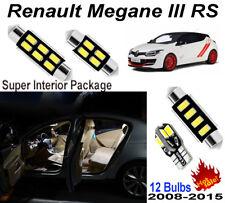 12 Bulbs White 5630 LED Fit Renault Megane III RS 2008-2015 Interior Light Kit