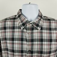 John Varvatos USA Mens Gray Red Plaid Check L/S Dress Button Shirt Sz Large L