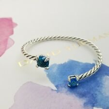 David Yurman 4mm Chatelaine Sterling Silver Bypass Blue Topaz & Diamond Bracelet
