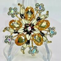Flower Clear Rainbow and Golden Crystals Vintage Gold Pin Brooch D-6328