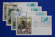 """Micronesia (1-4) 1984 Postal Service Inauguration Colorano """"Silk"""" FDC set"""