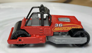 Matchbox Road Roller Paver Red 1/64 Diecast Loose Swivels Left & Right