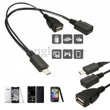 Host OTG Power Splitter Micro USB Male to USB A Female + Micro USB Female Cable