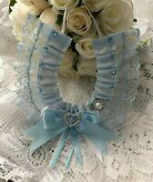 WEDDING HORSESHOE SOMETHING BLUE SATIN AND WHITE LACE bridal shower bows hearts